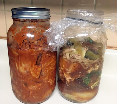 First time making Korean kimchi recipe fermenters kitchen