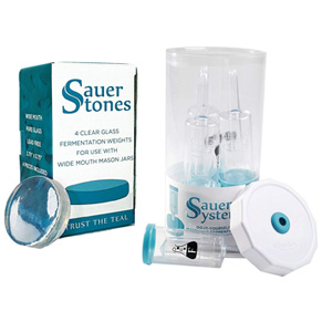 Sauer System Airlock Lids and Sauer Stones Glass Fermentation Weights