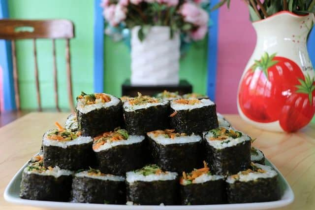 plate of avacado_sauerkraut_sushi_recipe