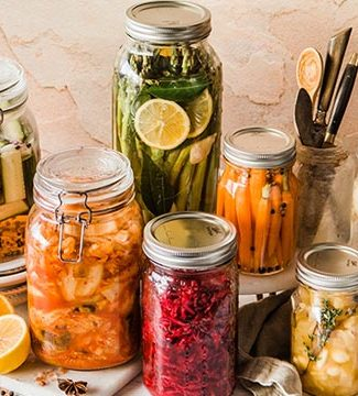 fermented and pickled vegetables on display