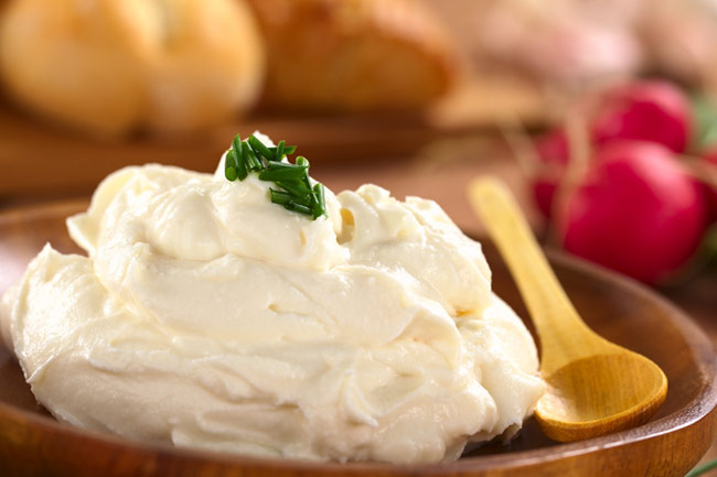 cultured cream cheese in bowl